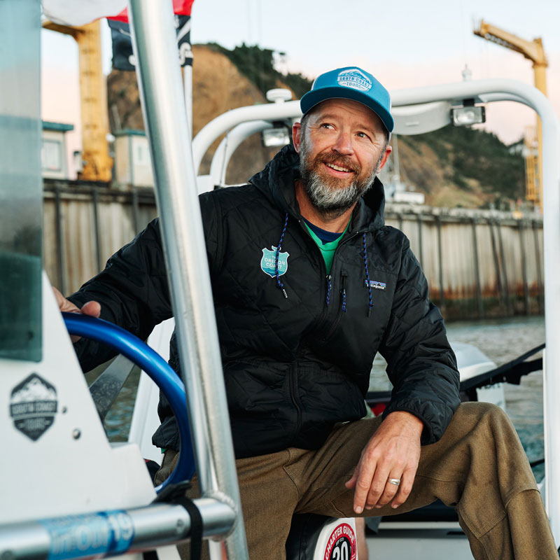Captain Dave Lacey on his boat near the Port of Port Orford, Oregon